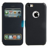 Black Protective Leather Case with Magnetic Snap for iPhone 5C