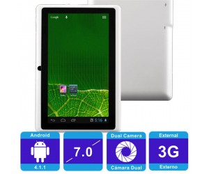 "Q88 Rockchip Android 4.1.1 Tablet PC White Wi-Fi 512MB RAM 7"" Capacitive Touch Screen"