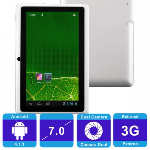Q88 Rockchip Android 4 1 1 Tablet PC White Wi-Fi 512MB RAM 7