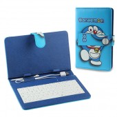 "Patterned Universal Keyboard PU Leather Case Doraemon for Tablet PC 7"" Blue"