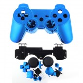 Replacement Plating Shell Case + Buttons Kit for PS3 Controller Blue
