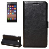 Fine Sheepskin Texture Horizontal Black Flip Leather Case with Holder for Xiaomi Mi3