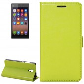 Fine Sheepskin Texture Horizontal Green Flip Leather Case with Holder for Xiaomi Mi3
