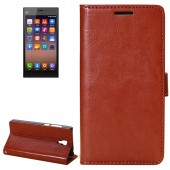 Fine Sheepskin Texture Horizontal Coffee Flip Leather Case with Holder for Xiaomi Mi3