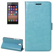 Fine Sheepskin Texture Horizontal Blue Flip Leather Case with Holder for Xiaomi Mi3