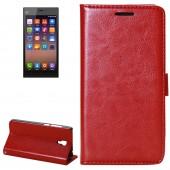 Fine Sheepskin Texture Horizontal Red Flip Leather Case with Holder for Xiaomi Mi3