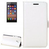 Fine Sheepskin Texture Horizontal White Flip Leather Case with Holder for Xiaomi Mi3