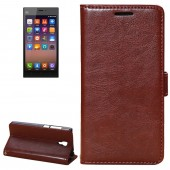 Fine Sheepskin Texture Horizontal Dark Brown Flip Leather Case with Holder for Xiaomi Mi3