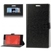 Flip Leather Case Hairline Texture with Credit Card Slots & Holder for Xiaomi Redmi Note Black