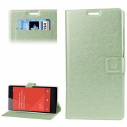 Flip Case Hairline Texture with Credit Card Slots & Holder for Xiaomi Redmi Note Green