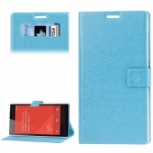 Flip Case Hairline Texture with Credit Card Slots & Holder for Xiaomi Redmi Note Blue