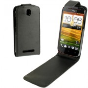 Pure Color High Quality Leather Case for HTC One sv Black