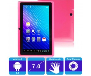 "Q88 4GB Allwinner 512MB Android 4.0 Tablet PC Pink 7"" Capacitive Touch Screen Dual Camera"