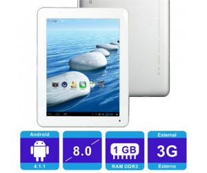 "SOXI X80 Dual Core Android 4.1.1 Tablet PC Silver Wi-Fi 1G RAM 8"" Capacitive Touch Screen"